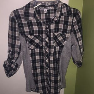 Women's Black and White Plaid Blouse/Shirt